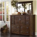 Progressive Furniture Trestlewood Landscape Mirror - P611-50 - Mirror Shown with Dresser