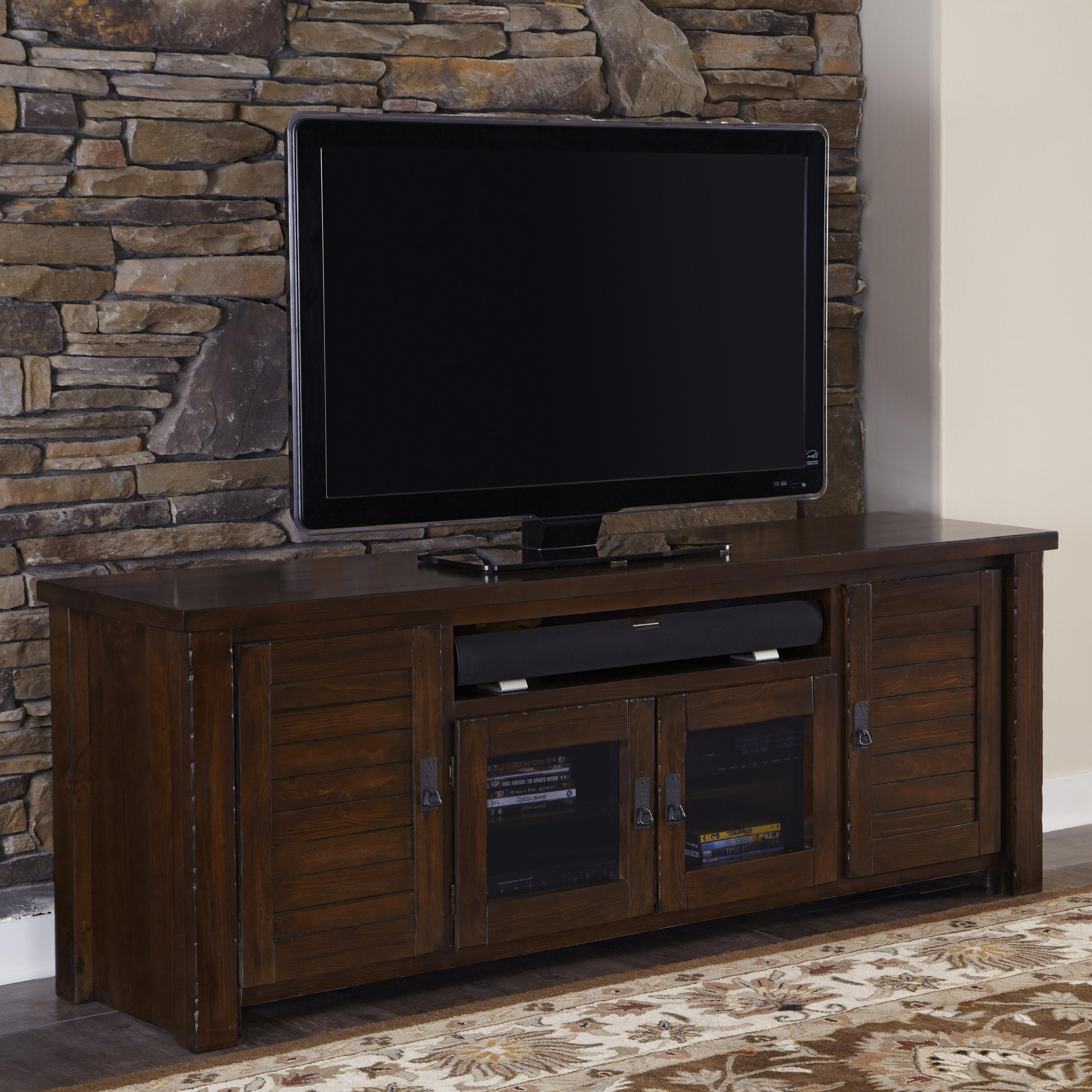 Progressive Furniture Trestlewood Rustic Pine 74 Console Miskelly Furniture Tv Stands