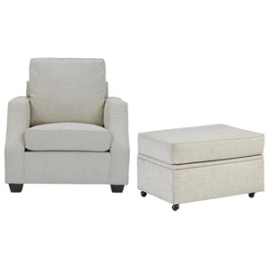 Progressive Furniture Hadley Chair & Castered Storage Ottoman