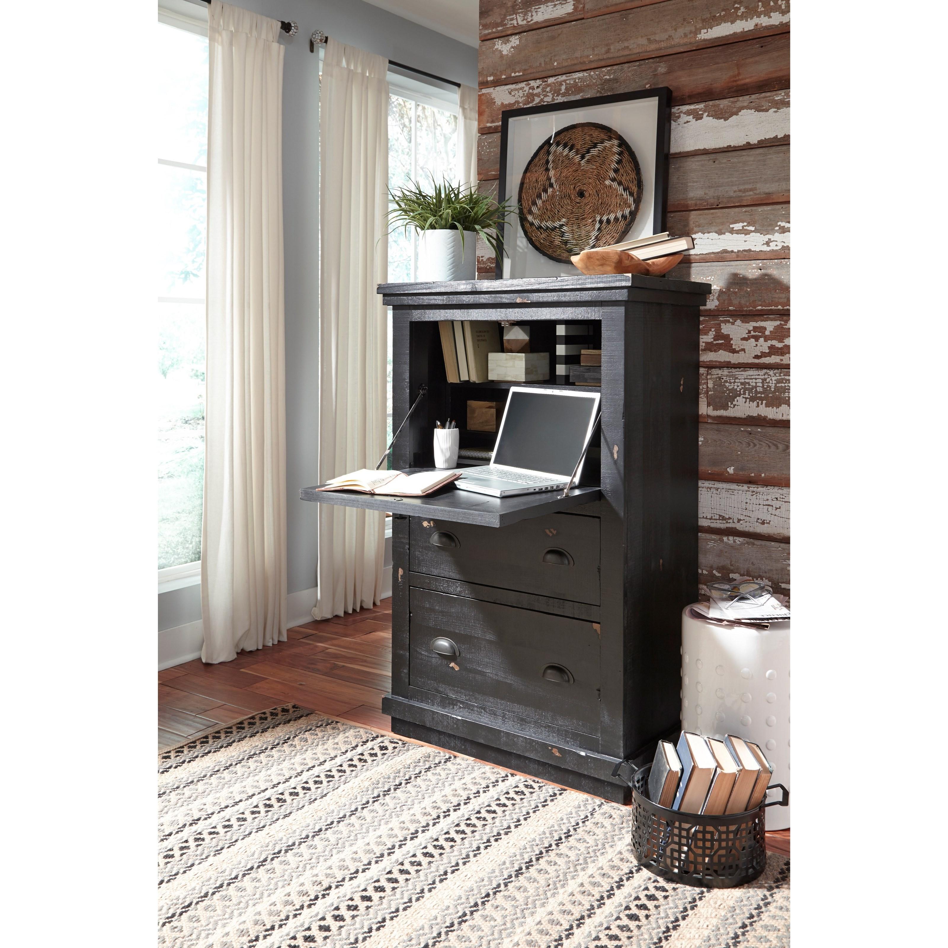 Progressive Furniture Willow Rustic Armoire Desk with Wire ...
