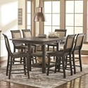 Progressive Furniture Willow Dining 7-Piece Rect. Counter Height Table Set - Item Number: D801-12B+12T+6x64