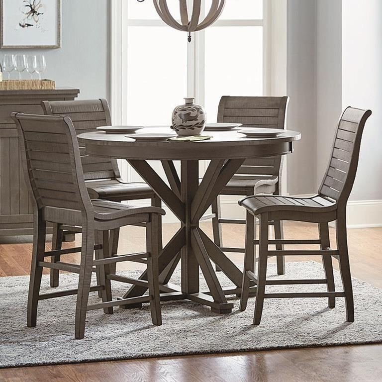 Ashland Black Counter Height 5 Piece Dining Set: Progressive Furniture Willow Dining 5-Piece Round Counter