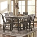 Progressive Furniture Willow Dining 7-Piece Rect. Counter Height Table Set - Item Number: P801-12B+12T+6x63