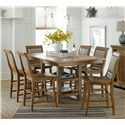 Progressive Furniture Willow Dining 7-Piece Rectangular Counter Height Table Set with Uph. Counter Chairs - P808-12B+12T+6x64