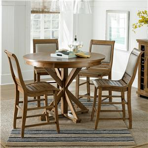 Progressive Furniture Willow Dining 5-Piece Round Counter Height Table Set