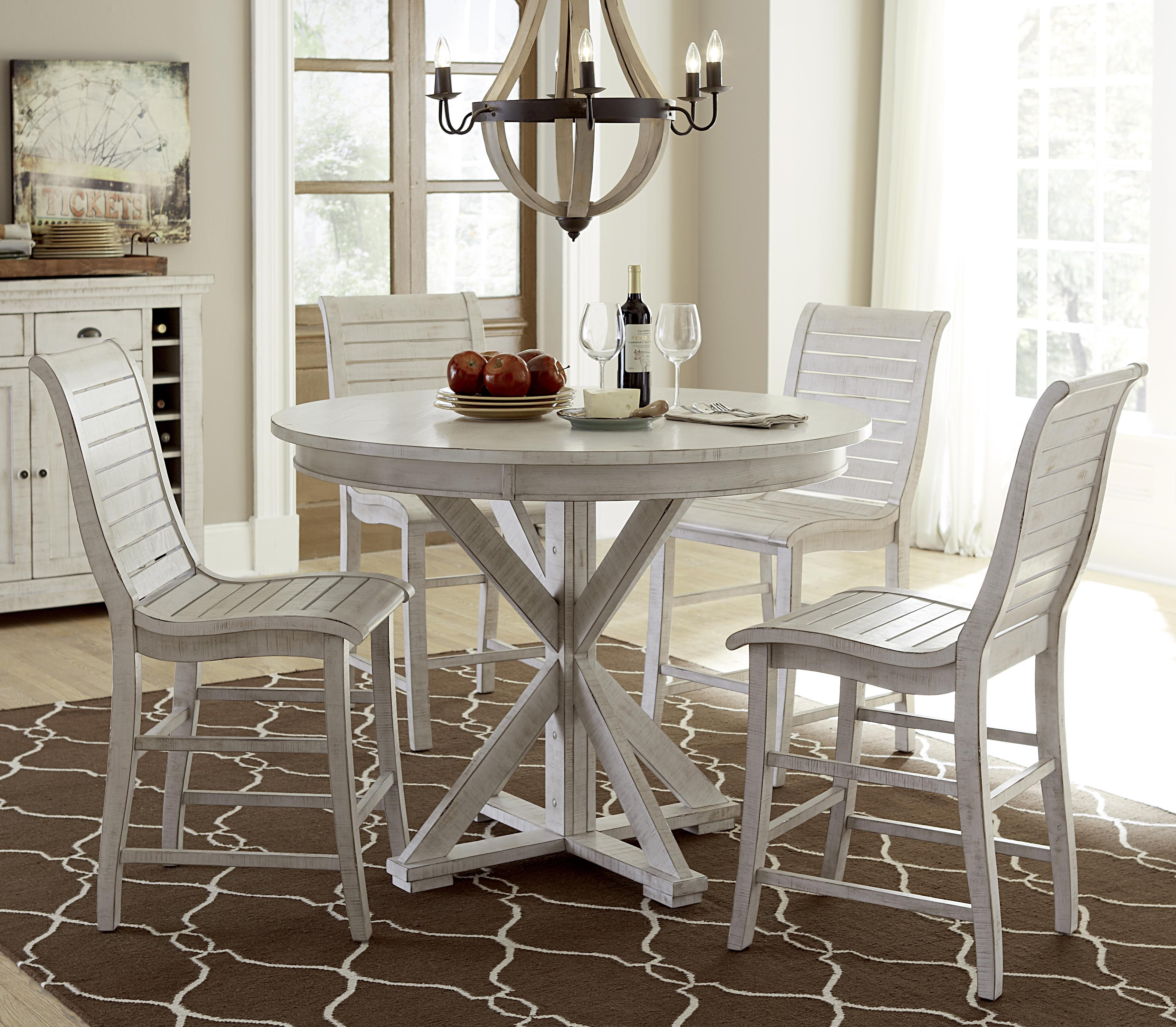 willow dining 5piece round counter height table set by progressive furniture