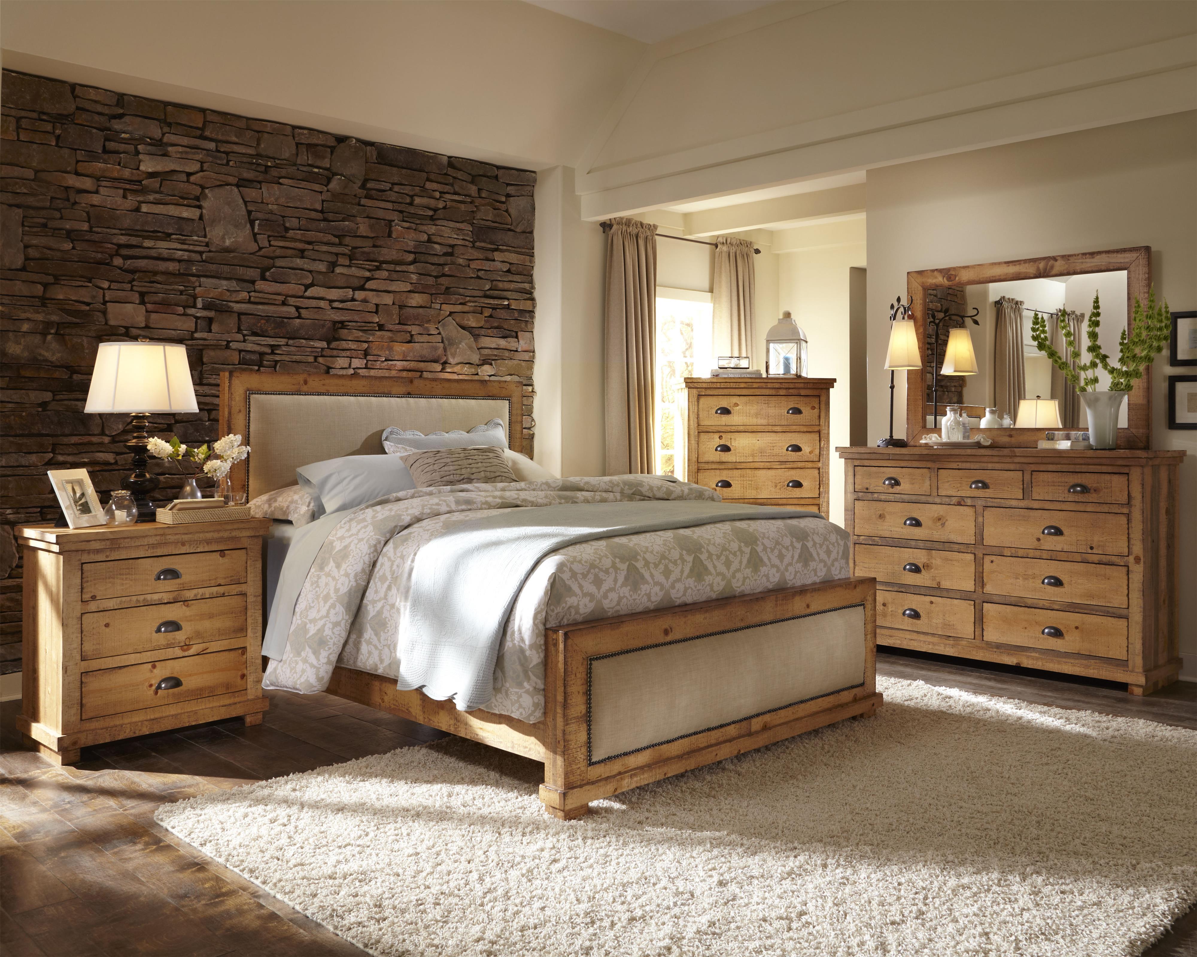 progressive furniture willow queen bedroom group | hudson's
