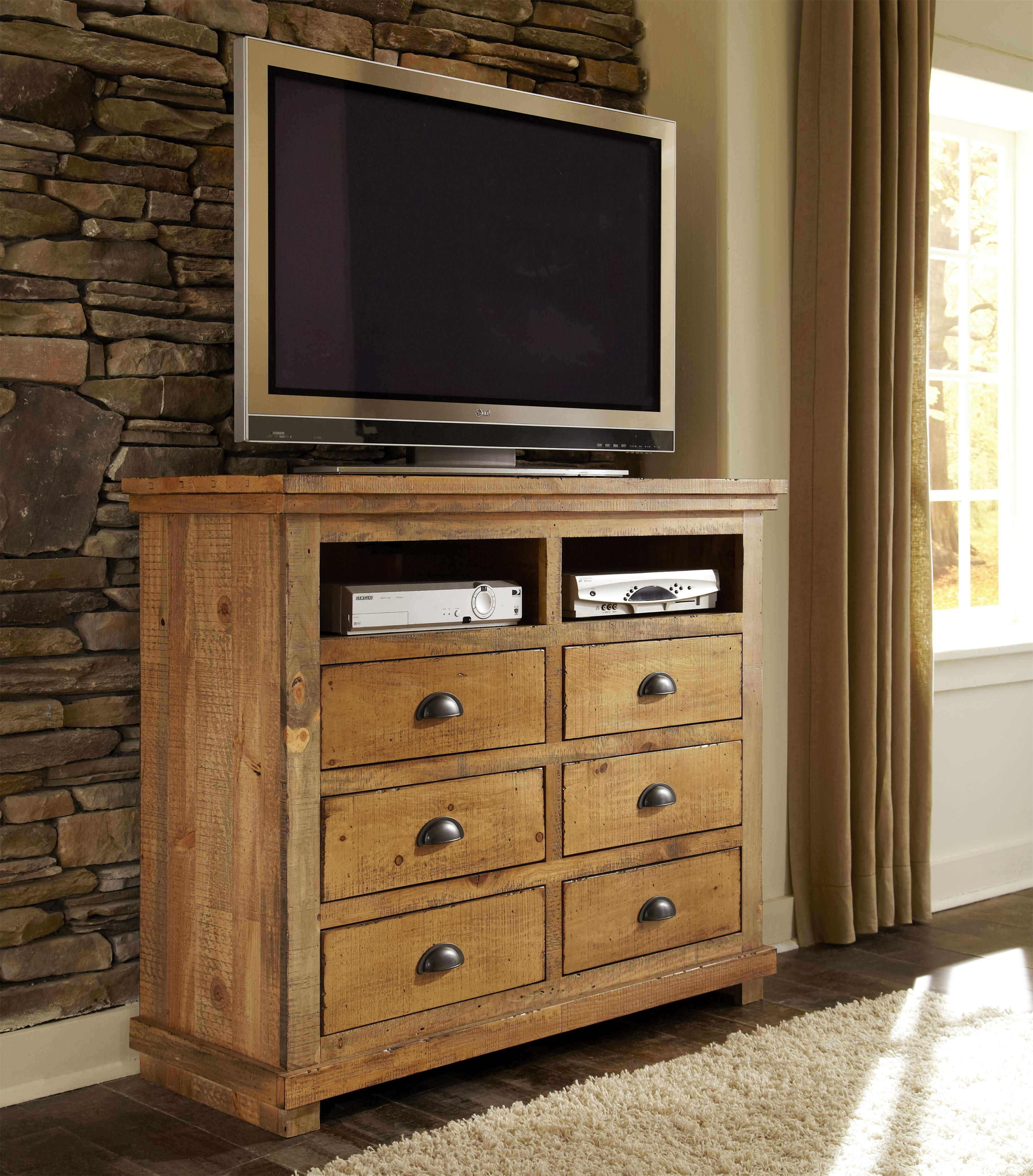 willow distressed pine media chest by progressive furniture - Progressive Furniture