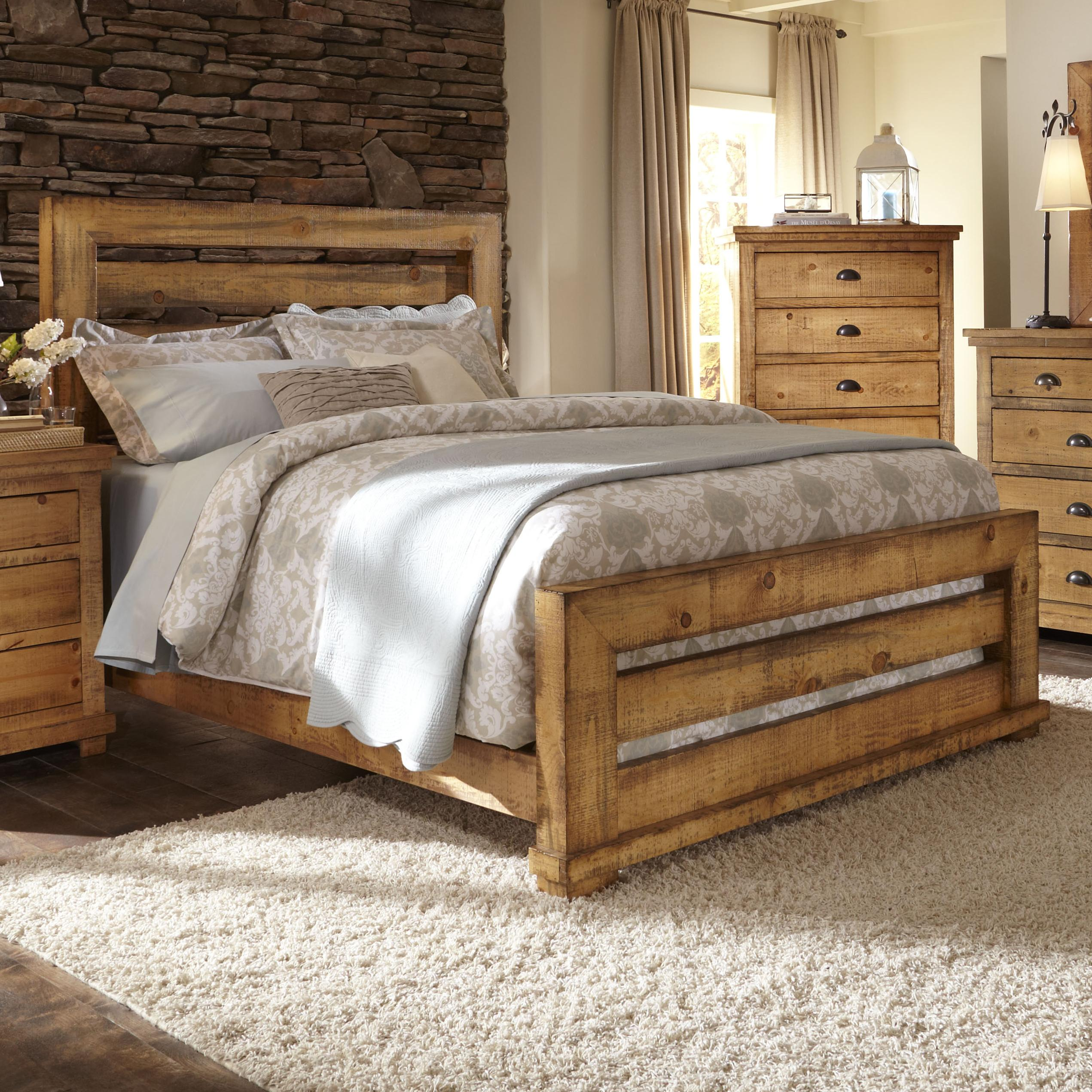 Progressive Furniture Willow Queen Slat Bed with Distressed Pine ...