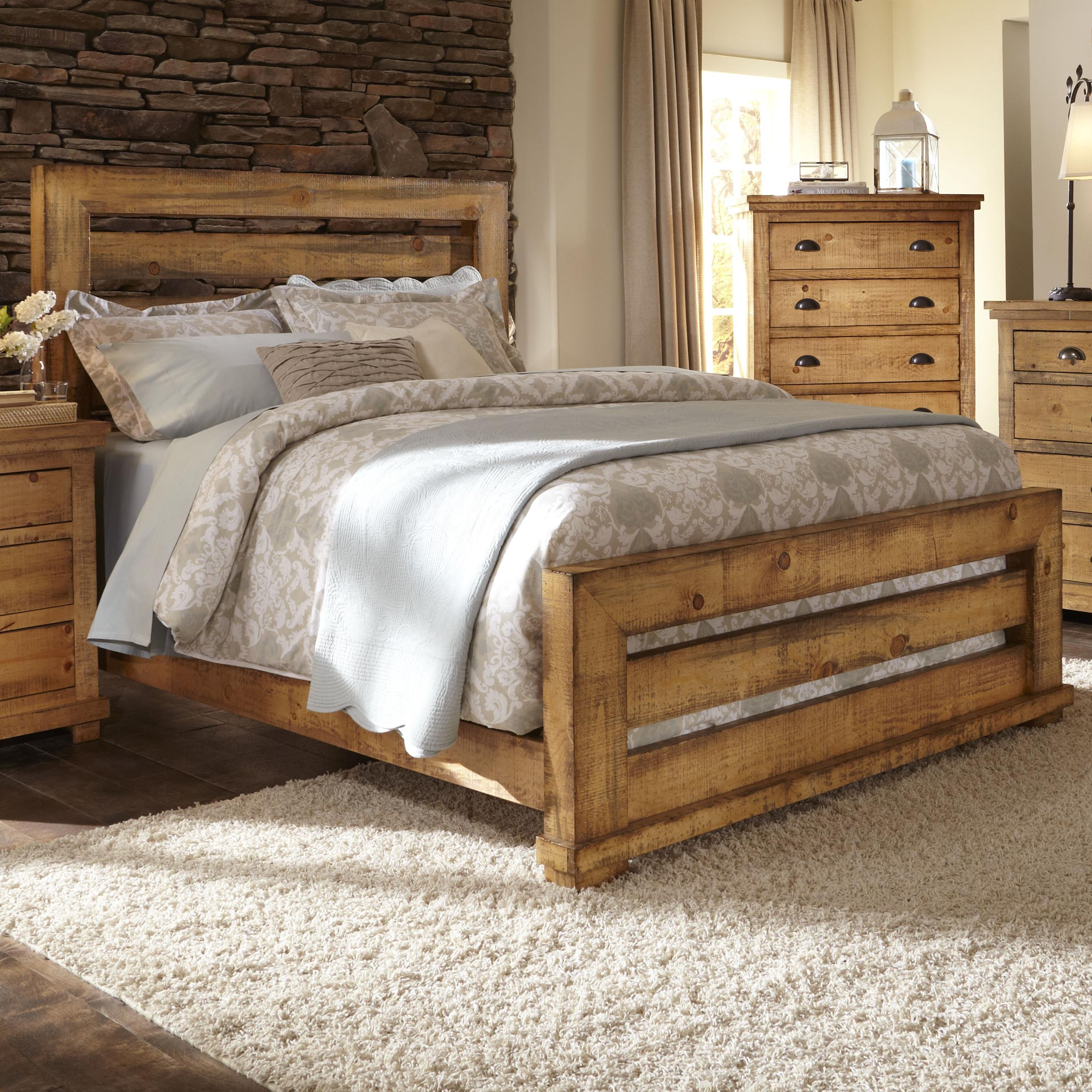 Progressive Furniture Willow Queen Slat Bed with Distressed Pine