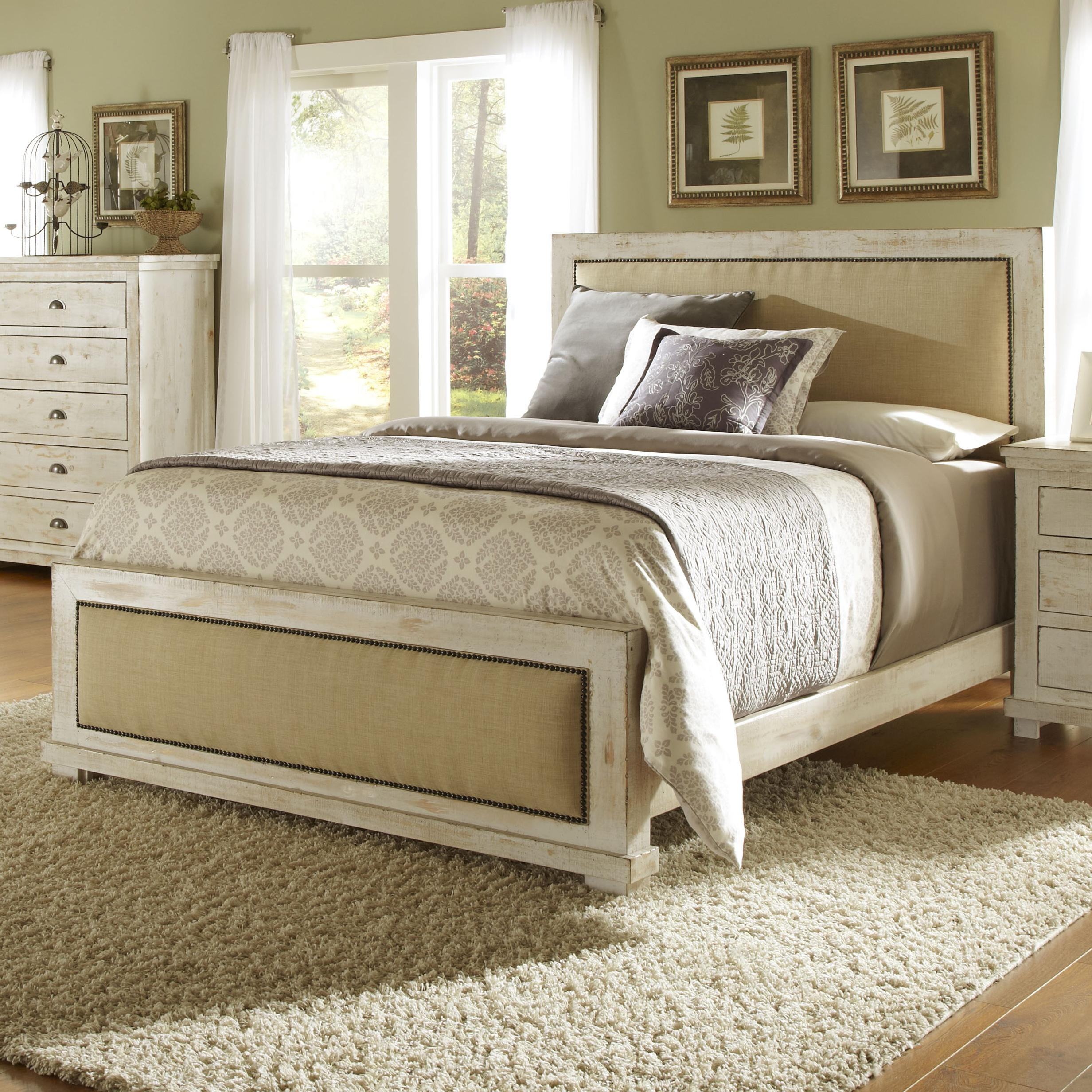 progressive furniture willow queen upholstered bed with distressed pine frame ahfa upholstered bed dealer locator - Distressed Bed Frame