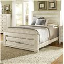 Progressive Furniture Willow Queen Slat Bed with Distressed Pine Frame - P610-60+61+78