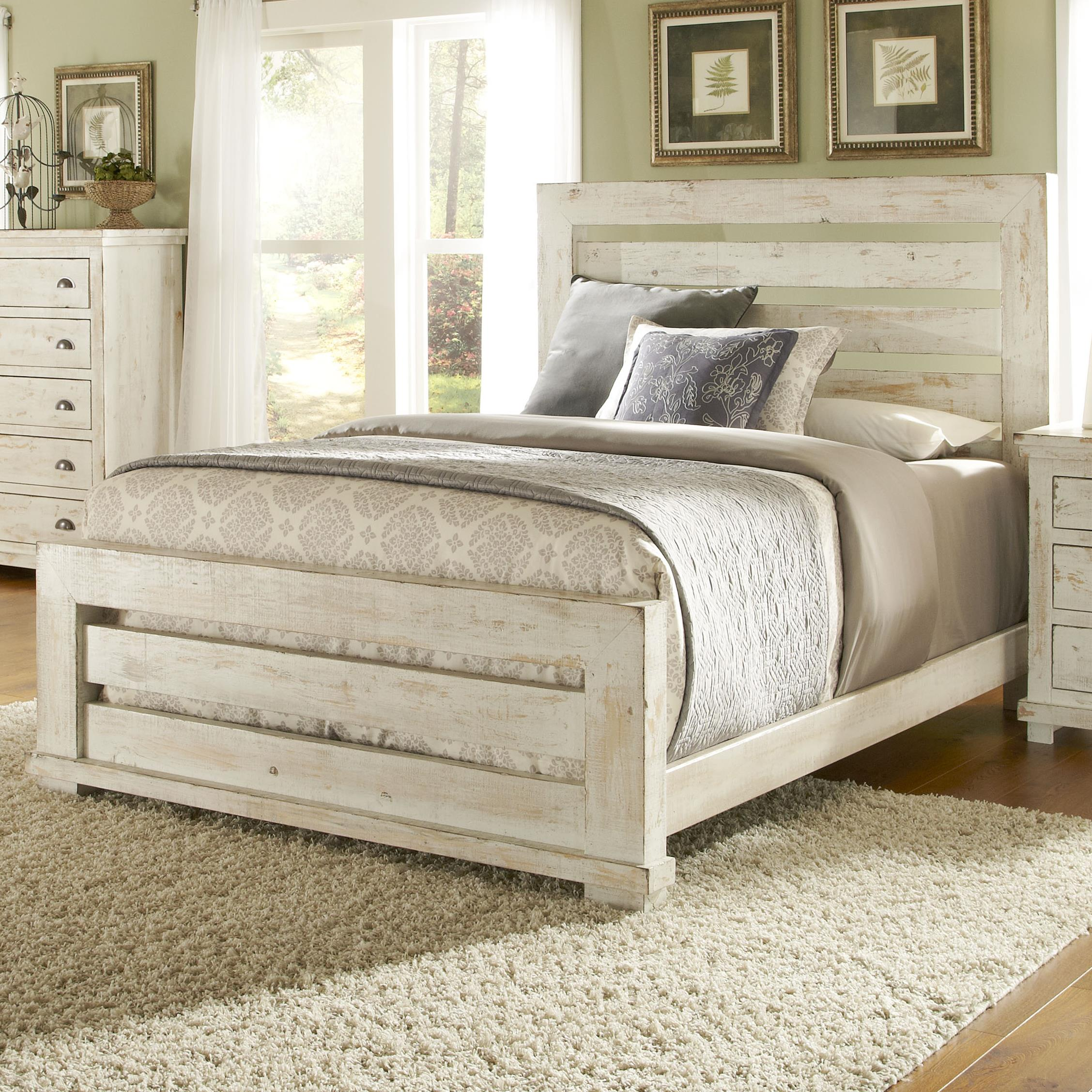 Willow King Slat Bed with Distressed Pine Frame by Progressive Furniture at  Lindy\'s Furniture Company