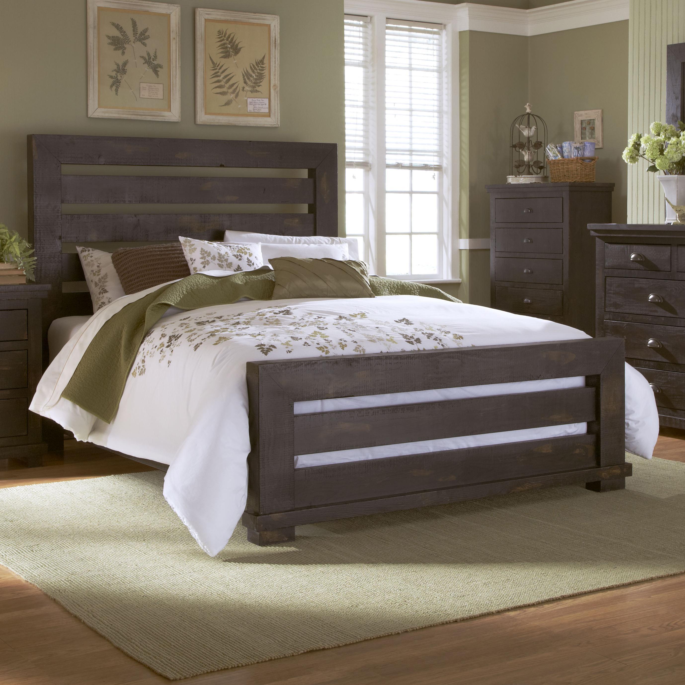 Progressive Furniture Willow King Slat Bed With Distressed Pine Frame    AHFA   Headboard U0026 Footboard Dealer Locator