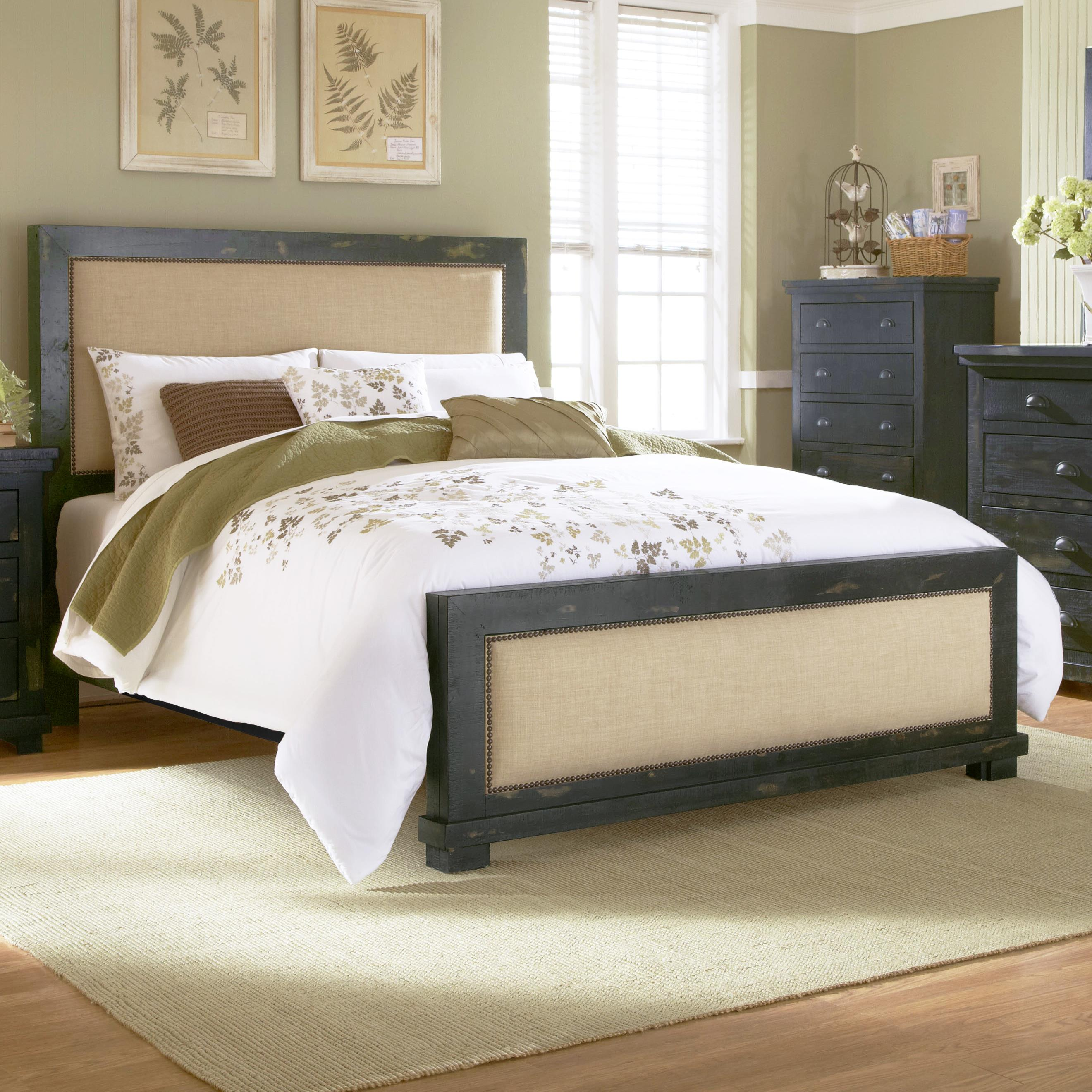 Progressive Furniture Willow King Upholstered Bed with Distressed
