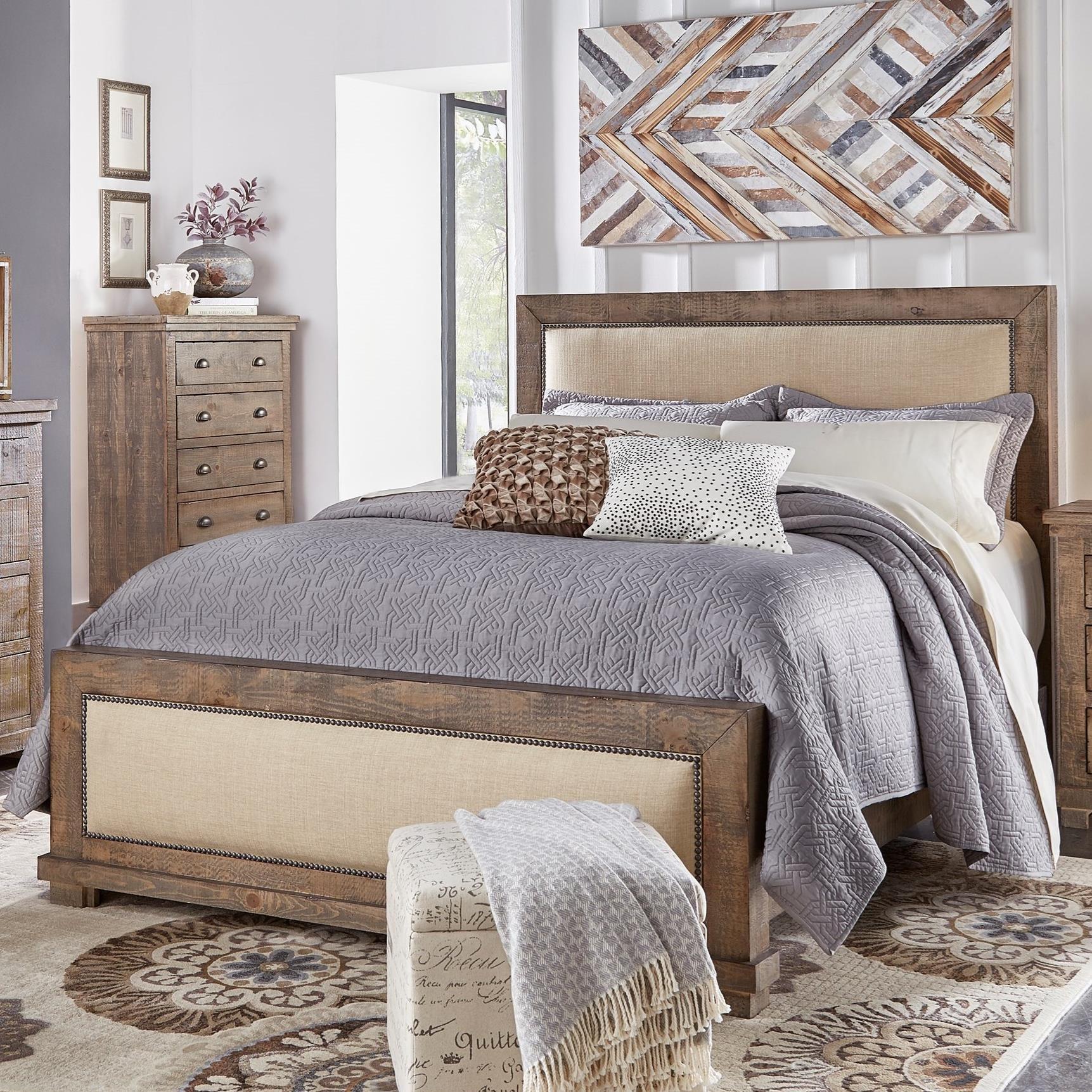 Progressive Furniture Willow King Upholstered Bed   Item Number: P635 94+95+