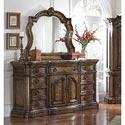 Pulaski Furniture San Mateo Nine Drawer Marble Top Dresser and Beveled Mirror Combo - 662-100+110