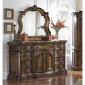 Pulaski Furniture San Mateo Carved Frame Dresser Mirror with Beveled Glass - Shown here with the 662-100 Dresser