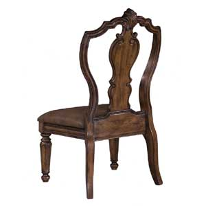 Carved Back Upholstered Seat Side Chair