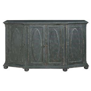 Black Distressed Cabinet with Hidden Wine Bo