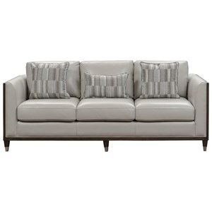 Transitional Sofa with Dark Wood Frame