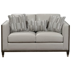 Transitional Matching Loveseat with Dark Wood Frame