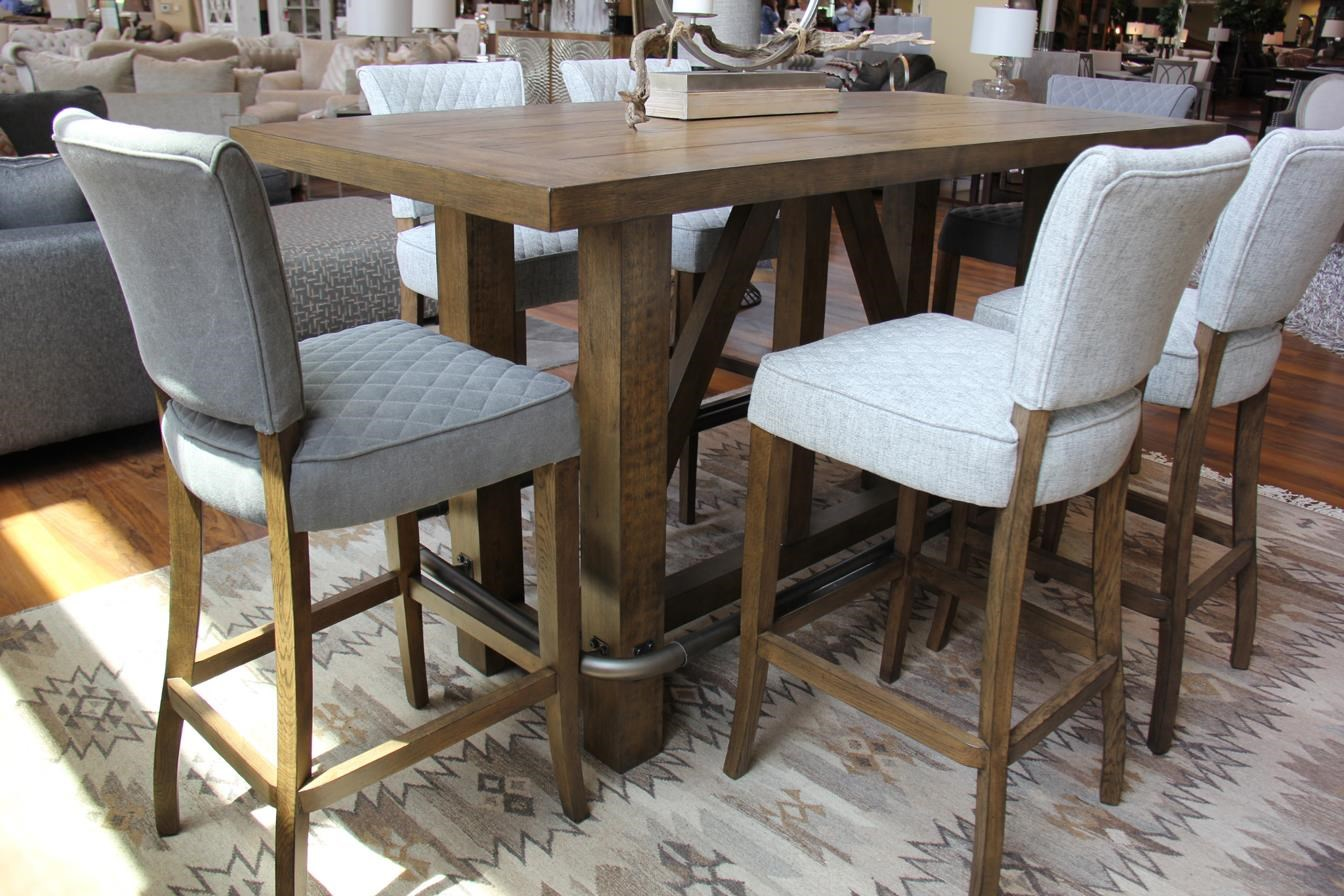 Bar & 6 Grey Quilted Stool Set