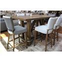 Pulaski Furniture Bars and Barstools Bar & 6 Grey Quilted Stool Set - Item Number: GRP-D192-BAR6