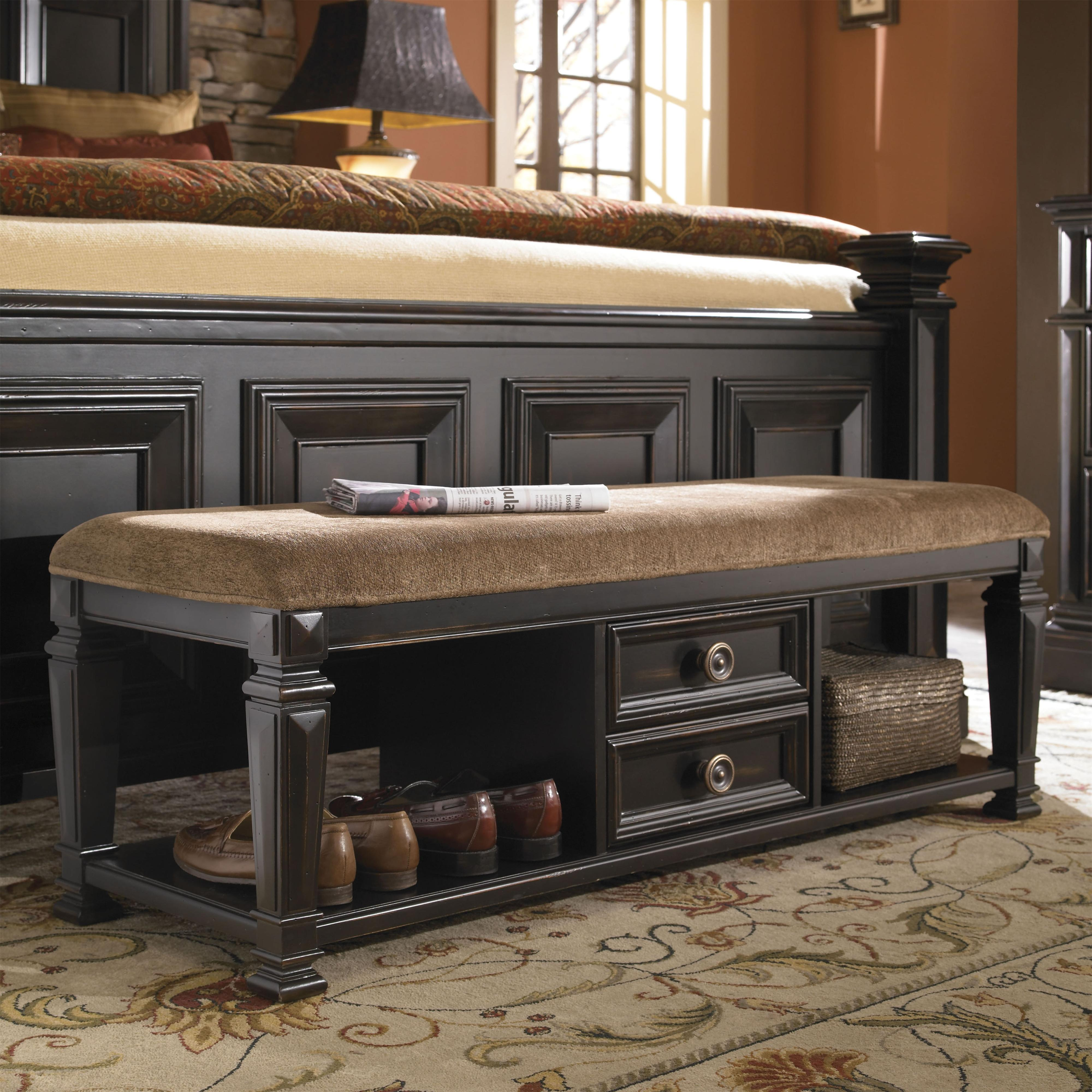 Brookfield Bedroom Bench With Drawers And Upholstered Seat By Pulaski  Furniture