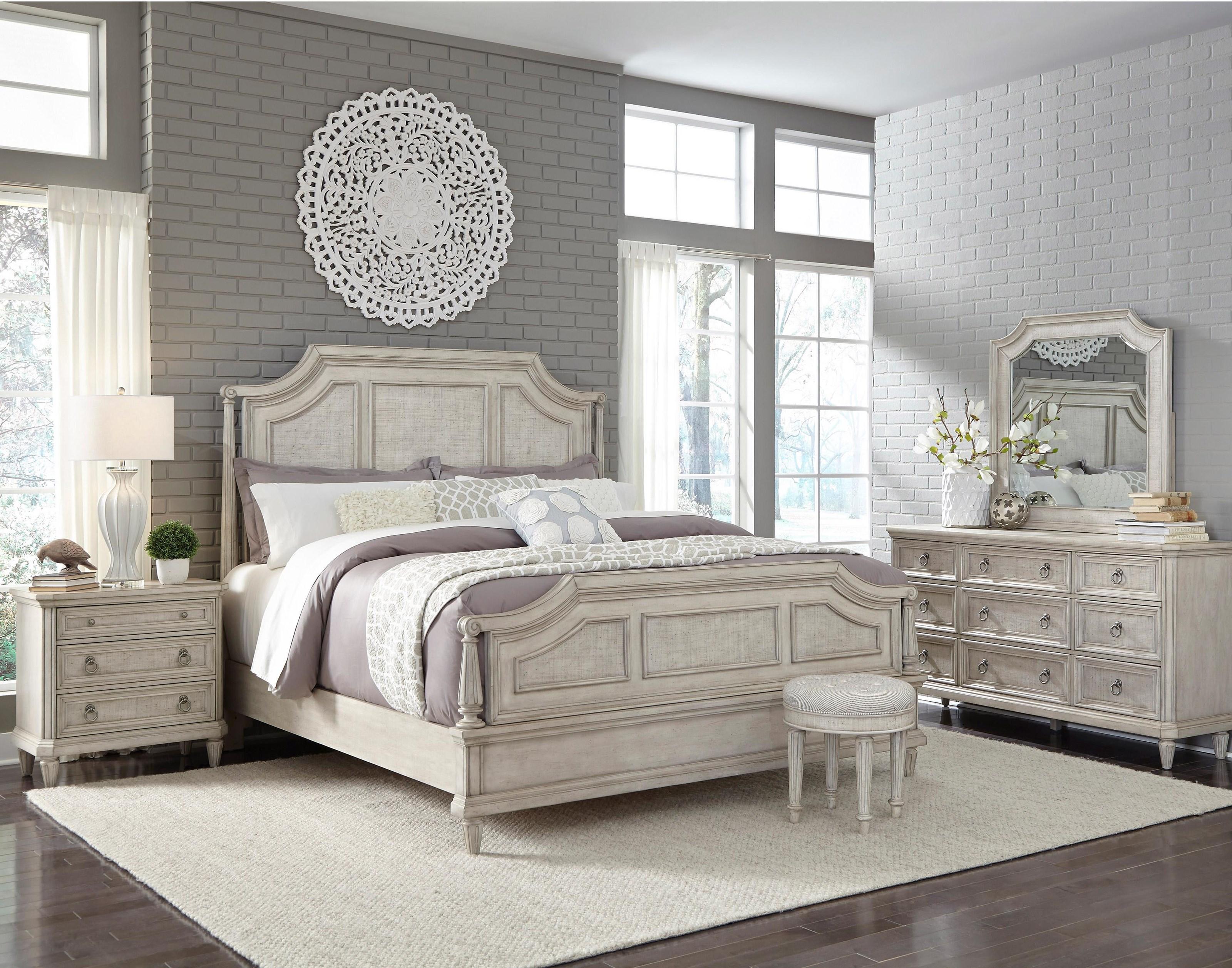 Pulaski Furniture Campbell Street King Bed, Dresser, Mirror, and Nightstand wi - Item Number: GRP-P1231XX-KINGSUITE