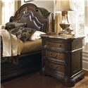 Pulaski Furniture Courtland  Traditional Laminated Marble Top Nightstand with Storage - 504140 - Shown with Platform Bed Arched Headboard