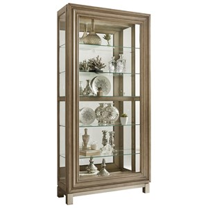 Sliding Door Curio with Metal Base