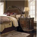 Pulaski Furniture Del Corto Traditional Bed Chest with Pilasters and Marble-Like Top - 503123 - Shown with Poster Bed with Decorative Carved Shell
