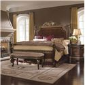 Pulaski Furniture Del Corto Queen Traditional Poster Bed with Gold-Toned Trim and Decorative Veneer - 503150+503151+503152 - Shown with Bed Bench & Nightstand