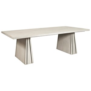 Contemporary Rectangular Dining Table in White Wash Finish