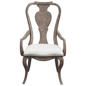 Traditional Splat Back Arm Chair with Upholstered Seat