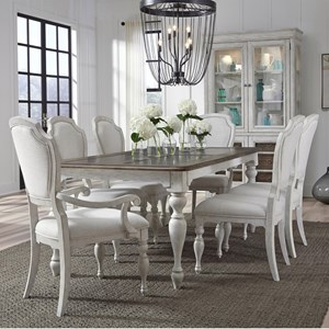 Farmhouse 7-Piece Table and Upholstered Chair Set