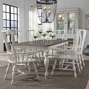Glendale Estates Farmhouse 7-Piece Table and Windsor Chair Set by Pulaski Furniture