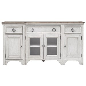 Farmhouse 3-Drawer Buffet with Silverware Tray