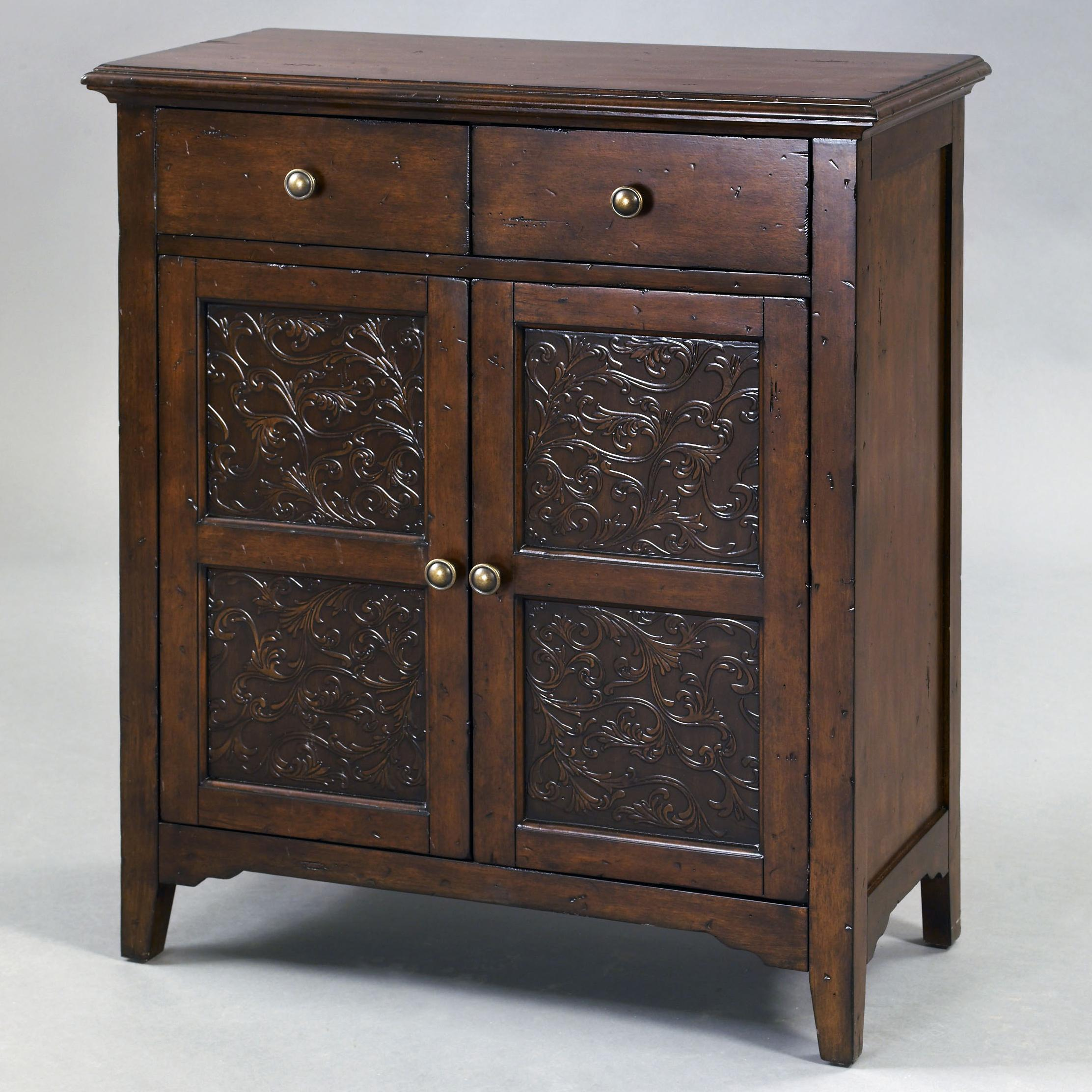 Accents Smiley Accent Cabinet With Two Drawers With Faux Worked Metal Front  By Pulaski Furniture