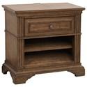 Pulaski Furniture Jackson Lake Traditional 1-Drawer and 2-Shelf Open Nightstand with USB Port