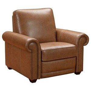 Transitional Matching Reclining Chair with Rolled Arms