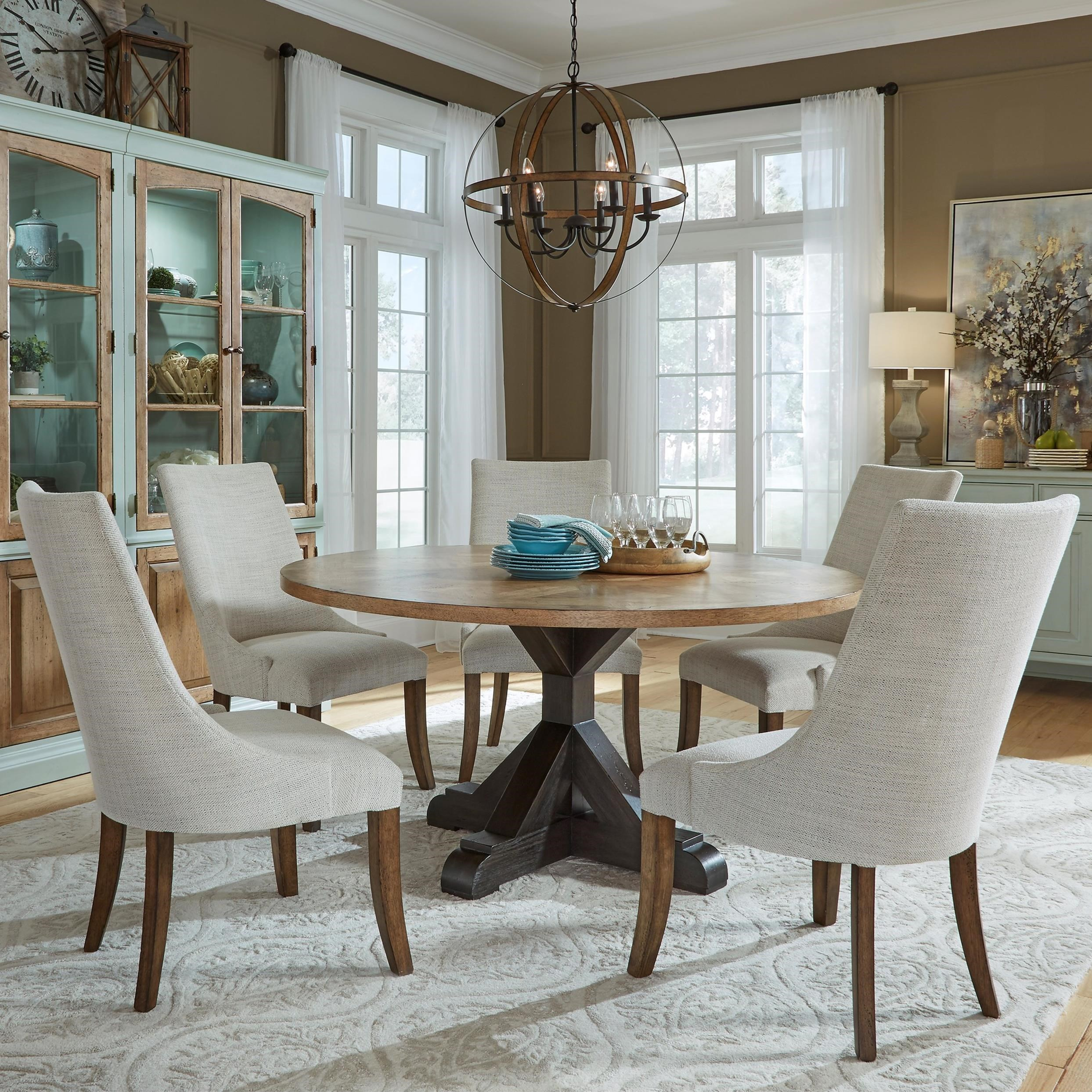 Pulaski Furniture The Art Of Dining 6 Piece Round Table And Upholstered Chair Set Upper Room Home Furnishings Dining 5 Piece Sets