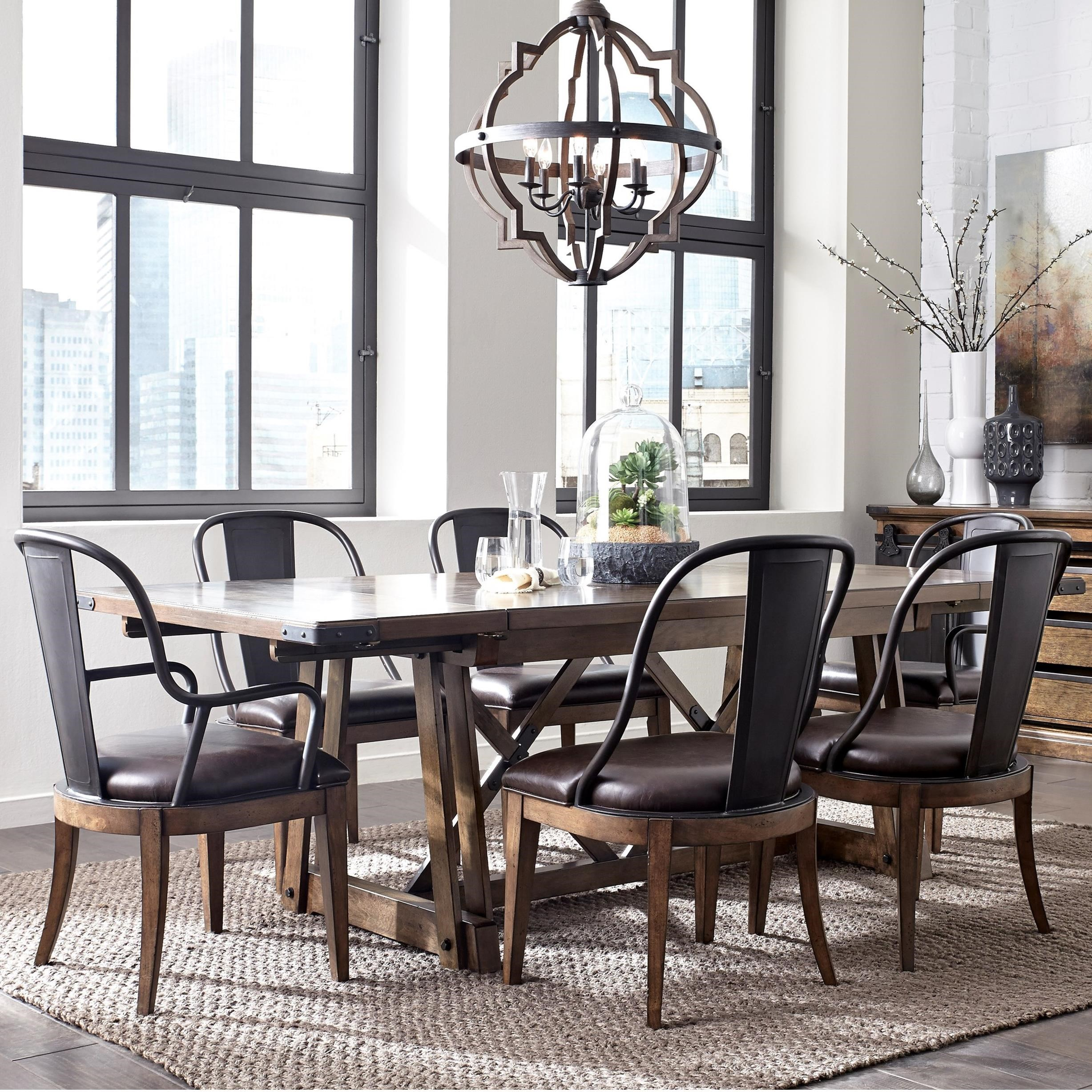 Pulaski Furniture Weston Loft 7 Piece Trestle Table And Metal Chair