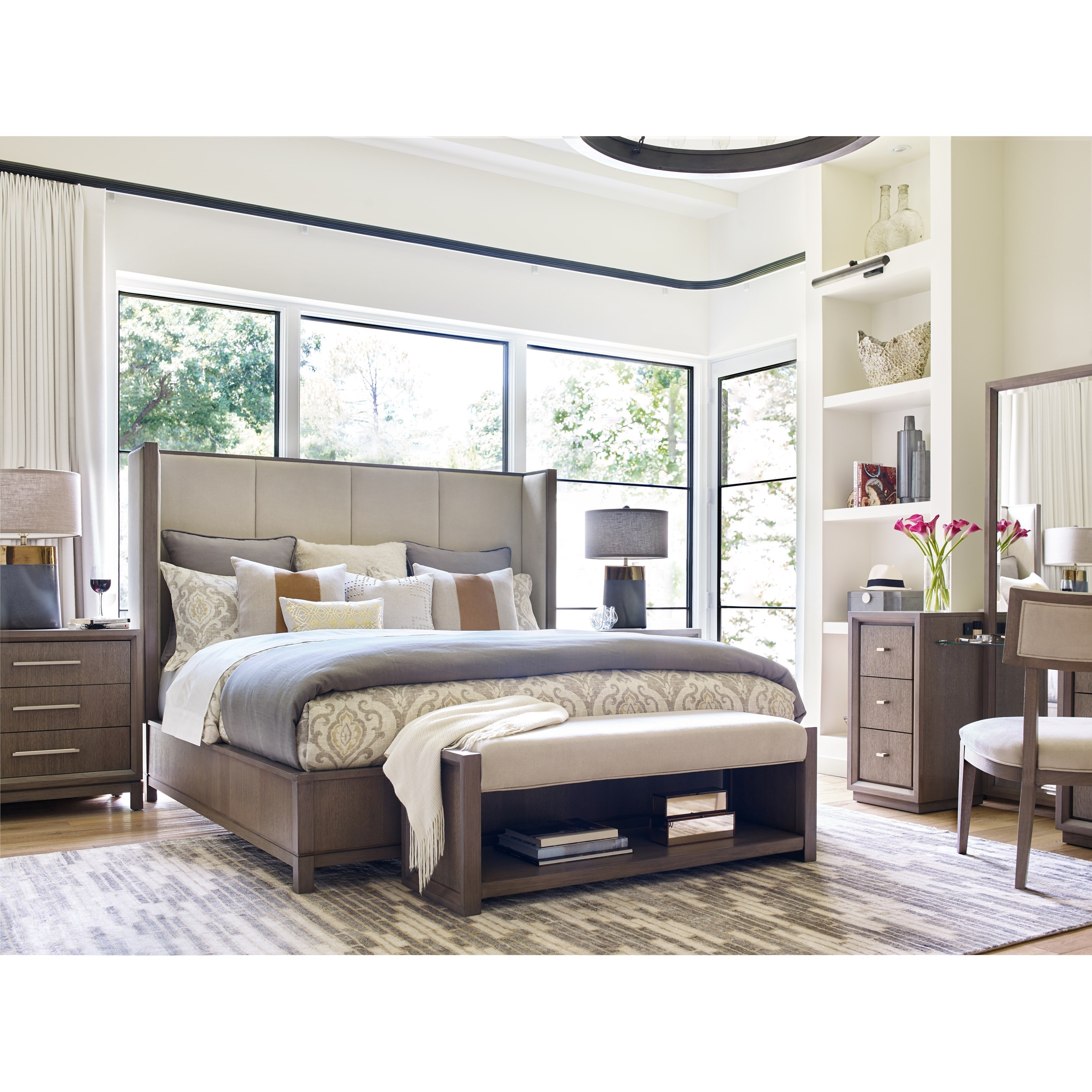 Rachael Ray Home By Legacy Classic High Line King Upholstered Shelter Bed Fashion Furniture