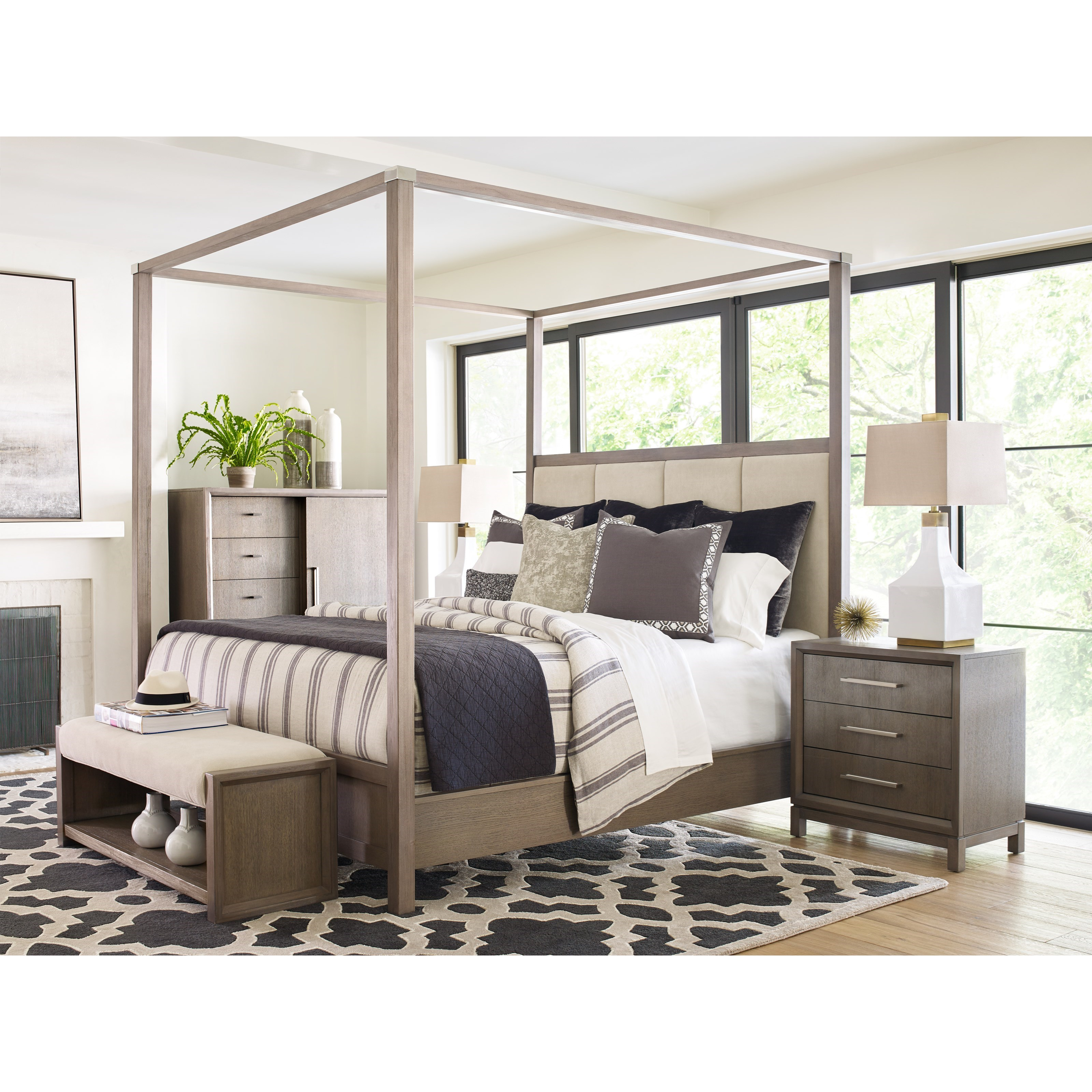 Rachael Ray Home High Line King Upholstered Poster Bed Fashion Furniture Upholstered Beds