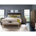 Rachael Ray Home by Legacy Classic Soho Mid-Century Modern Queen Panel Bed with Parquet Paneled Headboard