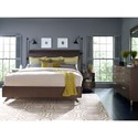 Rachael Ray Home by Legacy Classic Soho Mid-Century Modern California King Panel Bed with Parquet Paneled Headboard
