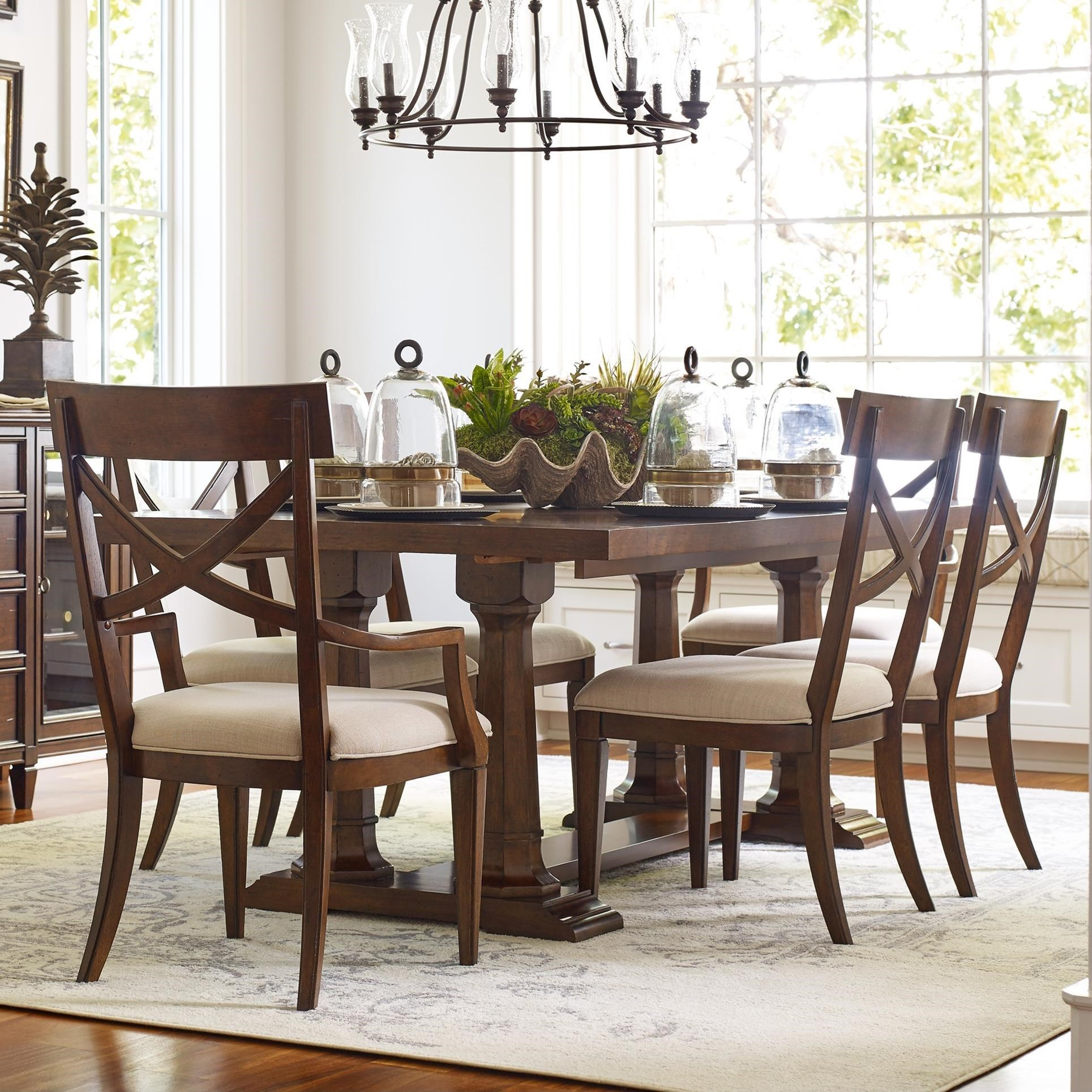 Rachael Ray Home by Legacy Classic Upstate 7 Piece Trestle Table & Chair Set - Item Number: 6040-622K+2x241 KD+4x240 KD