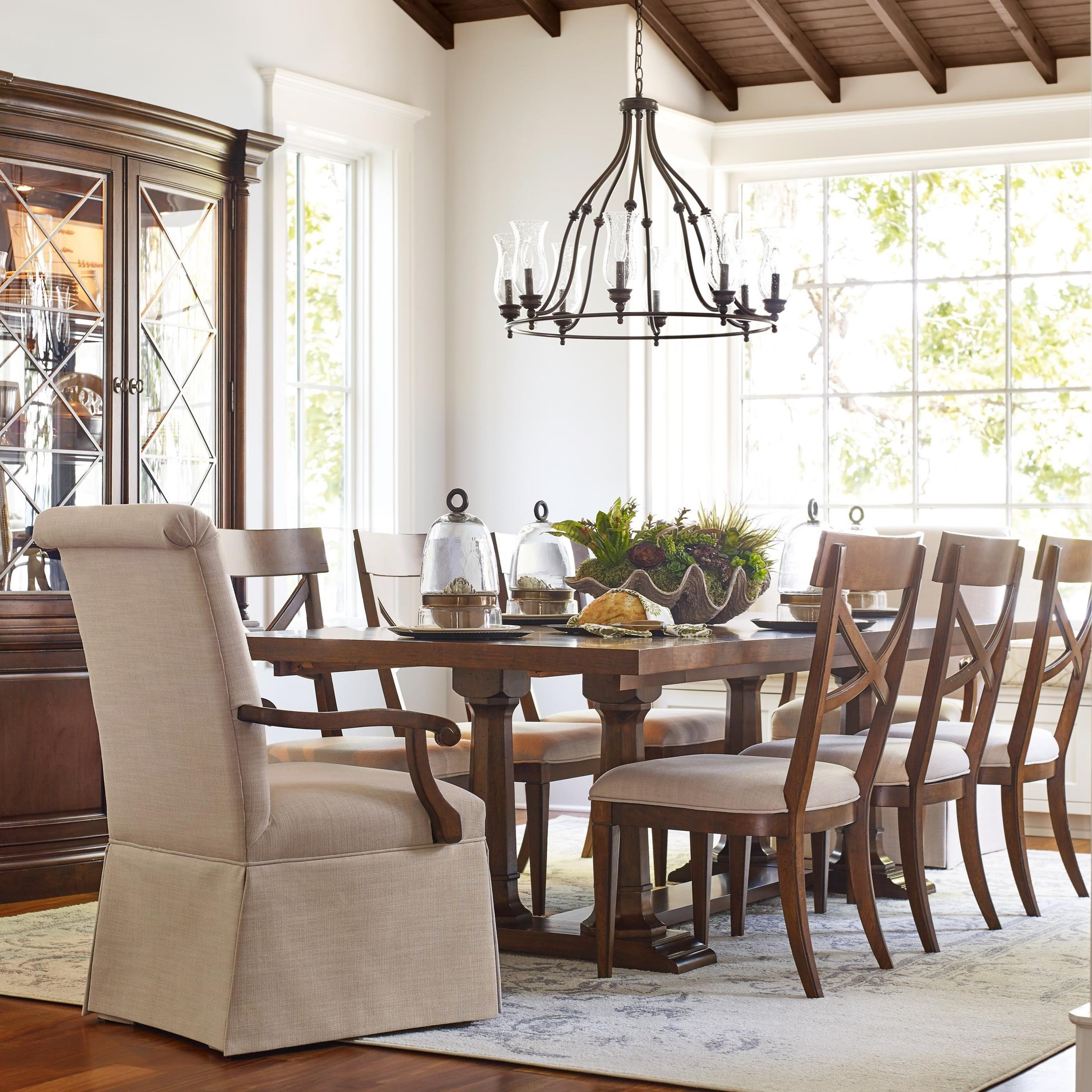 Rachael Ray Home by Legacy Classic Upstate 9 Piece Trestle Table & Chair Set - Item Number: 6040-622K+2x451 KD+6x240 KD
